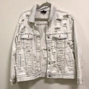 Denim & Co. Vintage distressed denim LF jacket